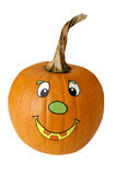 Happy pumpkin. Halloween pumpkin with stickers isolated on white Royalty Free Stock Images