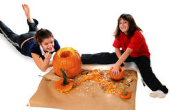 Happy Pumpkin Cleaners Royalty Free Stock Image