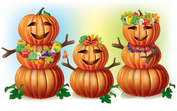 Happy Pumpkin Family Stock Image