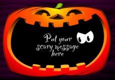 Free Happy Pumpkin Frame On Dark Violet Background Stock Photography - 79567572