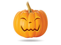 Happy pumpkin. Halloween pumpkin with funny face on  white Stock Photo