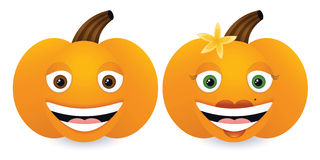 Happy Pumpkins. Male and female smiling cartoon pumpkins, gradients & blends used Royalty Free Stock Images