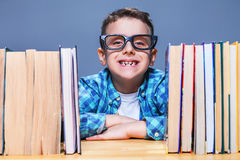Happy pupil in glasses against books Stock Image