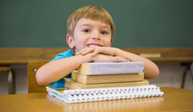 Happy pupil leaning on books at desk Royalty Free Stock Image