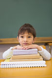 Happy pupil leaning on books at desk Royalty Free Stock Photography