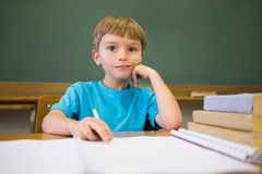 Happy pupil leaning on books at desk Royalty Free Stock Photos