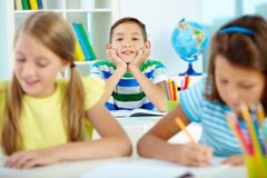 Happy pupil stock images