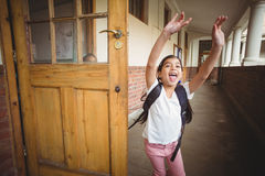 Happy pupil running on the corridor Stock Photos