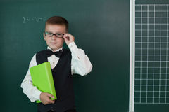 Happy pupil with schoolbook Royalty Free Stock Photo