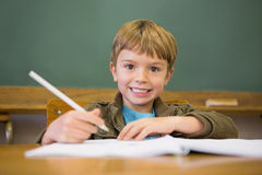 Happy pupil writing in notepad at desk Royalty Free Stock Photos