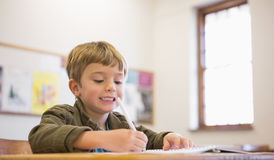 Happy pupil writing in notepad at his desk Stock Photos