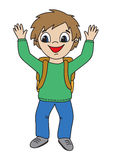 Happy pupil. Happy young boy with school backpack,  vector Royalty Free Stock Photo