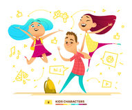 Happy pupils characters. Royalty Free Stock Photography