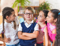 Happy pupils at school Royalty Free Stock Image