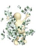 Happy puppet with money Stock Photos