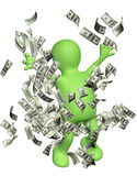 Happy puppet with money Stock Image