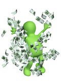 Happy puppet with money Stock Photography