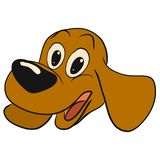 Happy puppy with a big nose and long ears.  royalty free illustration