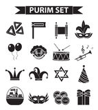 Happy Purim carnival icons set, black silhouette style. Jewish holiday collection signs, symbols,  on white Royalty Free Stock Image