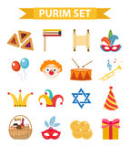 Happy Purim carnival set of design elements, icons.  Jewish holiday,  on white background. Vector illustration. Happy Purim carnival set of design elements Royalty Free Stock Photo