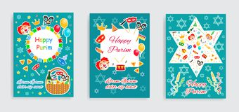 Happy Purim carnival set poster, invitation, flyer. Collection of templates for your design. Festival Purim jewish vector illustration