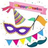 Happy Purim, Collection of icons for your creativity. Royalty Free Stock Images