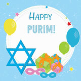 Happy Purim greeting card design Royalty Free Stock Image