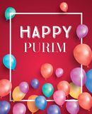 Happy Purim Holiday Card with Air Balloon on Red Background. Vector Illustration Royalty Free Stock Photos