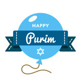 Happy Purim holiday greeting emblem. Happy Purim carnival emblem isolated vector illustration on white background. 12 march jewish traditional holiday event Royalty Free Stock Images