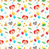 Happy Purim Jewish festival endless background, texture, wallpaper. Purim Jewish Holiday seamless pattern with carnival royalty free illustration