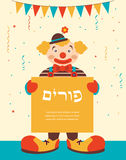 Happy purim, jewish holiday. clown holding greeting poster Stock Photo