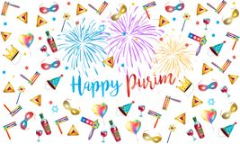 Happy purim jewish holiday fireworks festival. Happy purim jewish holiday greeting card with traditional purim symbols, noisemaker, masque, gragger, hamantaschen Stock Photo