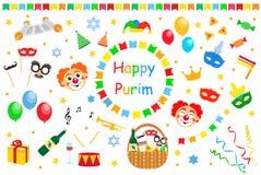 Happy Purim Jewish Holiday greeting card. traditional Purim carnival symbols design elements, icons isolated on white royalty free illustration