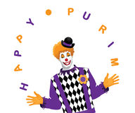 Happy Purim juggling clown on white Stock Image