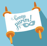 Happy Purim with torah and mask Stock Photo