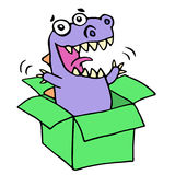 Happy purple dragon in green box. Vector illustration. stock images