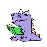 Happy purple dragon sits and reads a book with glasses. Vector illustration. stock images