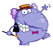 Happy purple elephant. In show biz, dancing a jig while entertaining Royalty Free Stock Images