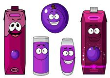 Happy purple plum with cartoon juice drinks Stock Image