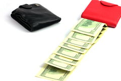 Happy purse with dollars Royalty Free Stock Photos
