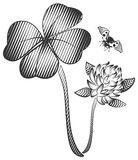 Happy quatrefoil clover leaf. Clover flower and flying ladybug Royalty Free Stock Images