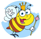 Happy queen bee cartoon character Stock Image