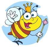 Happy queen bee cartoon character. Happy queen bee fly in the sky with scepter cartoon character Stock Image
