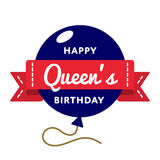 Happy Queens birthday greeting emblem. Happy Queens birthday emblem isolated vector illustration on white background. 10 june british holiday event label Royalty Free Stock Photography