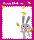 Happy rabbit birthday frame Stock Photos