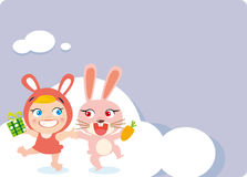 Happy rabbit and child. Vector illustration of Happy rabbit and child Royalty Free Illustration