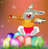 Happy Rabbit and Easter Eggs Stock Images