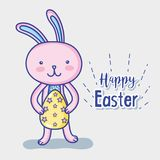 Happy rabbit easter holiday celebration. Vector illustration Stock Photos