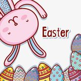 Happy rabbit easter holiday celebration. Vector illustration Stock Photography