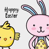 Happy rabbit easter holiday celebration. Vector illustration Stock Photo